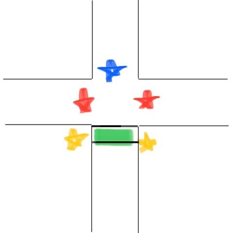 画像のような道路について教えてください。 緑の部分…横断歩道 黄色…歩行者用信号 だとします…。 こういった道路で青の星部分の信号が青信号だった場合、歩行者用信号、赤の星部分の信号は何色になりますでしょうか? 無知で申し訳ありませんが、お手柔らかに回答お願いします…