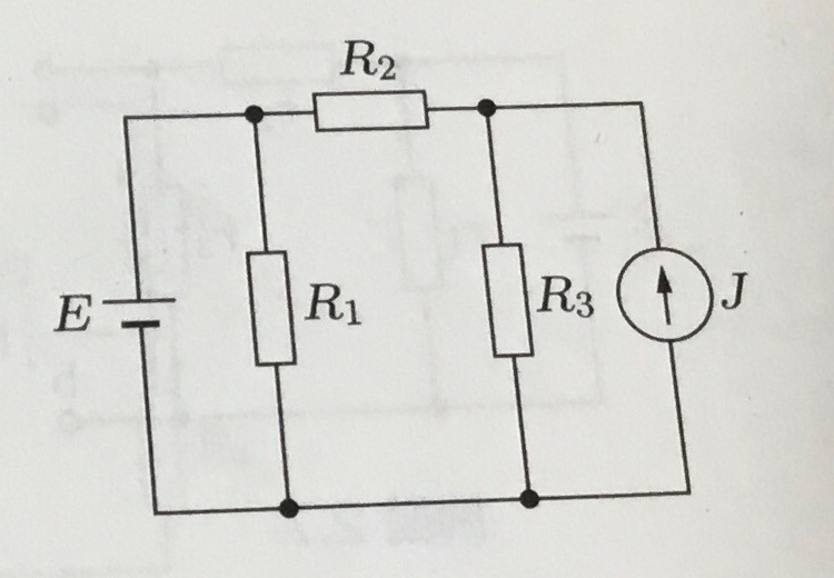 下の電気回路で、電流源のみ動作しているときの回路を新しく書き直にはどうすれば良いですか。 解答にはR1が消えていましたが、何故ですか。