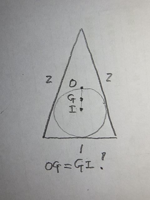 <この問題は知恵袋の某参加者の回答内容を元に作成しました> : 底辺1斜辺2の二等辺三角形の外心O,重心G,内心Iが等間隔で並んでいることを示してください。