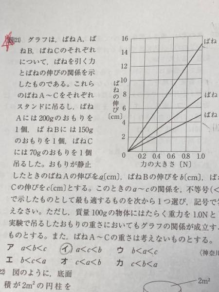 物理 フックの法則 問21番の問題がわかりません。重い重りをつけた方が伸びるし、重い順にa<b<cだと思ったのですが、 答えはイになるそうです!問題文の最後らへんの補足説明もよくわかりません...。
