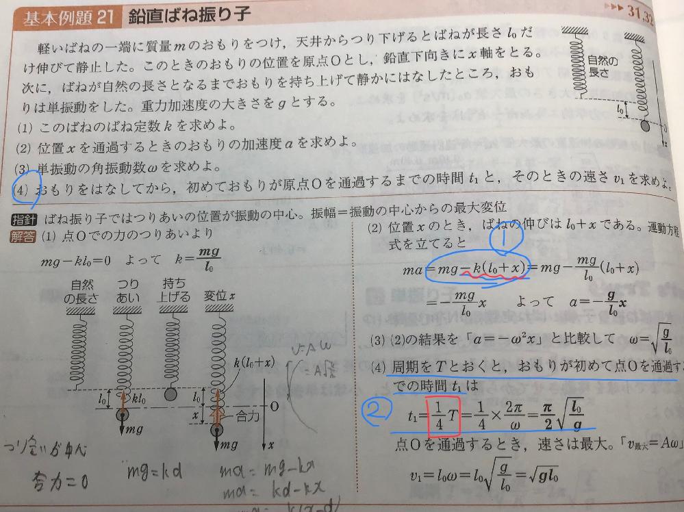高校物理、単振動の質問です。 ①単振動の運動方程式はma=-KXではないのですか。この式になるための過程を教えてください。 ②なぜ時間が1/4Tと分かるのですか。教えてください。 よろしくお願いします。