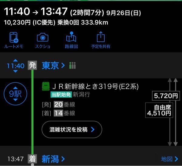 早めにお願いします!!! 新幹線はに初めて乗ります。 よくわからないので質問させてください。 新潟まで行こうと思っているのですが、 これってどーゆー事ですか? 片道5760円なのですか? 東京駅まではJRで400円くらいで行けるのですが、 東京駅からだと、片道で5720円?でいけるのですか? 10230円掛かるのですか? 電車とか新幹線とか無知で.... 早めにお願いします。