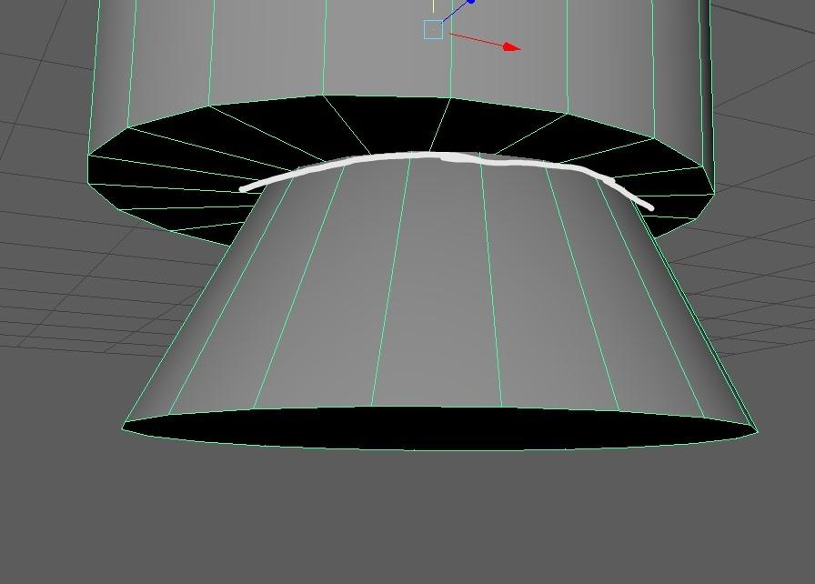 画像のように2つのポリゴンを結合させた後結合部分(白線)にエッジが欲しい場合はどうすればいいですか? 初心者で、調べても分からなかったので教えて頂きたいです。 maya