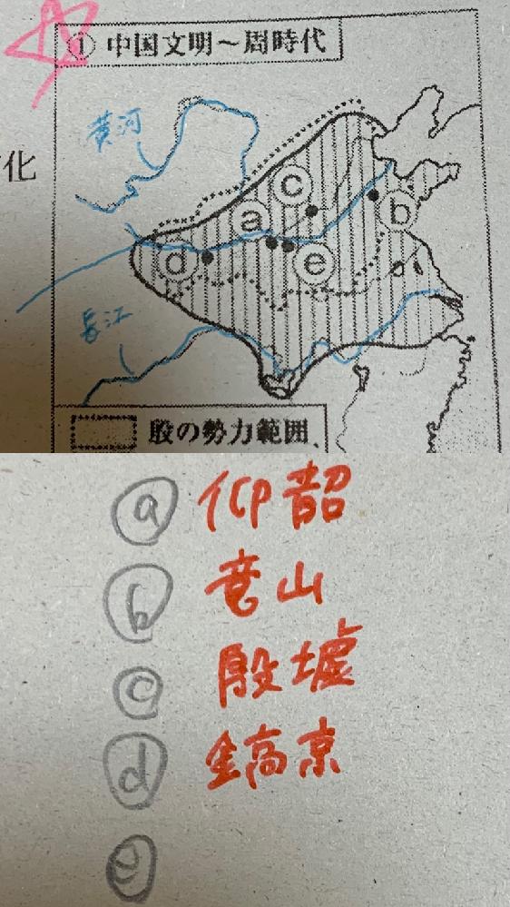 高校世界史の中国古典文明について質問です。 上の写真の e の場所だけ分かりません。 a 〜 d は下の画像の通りです。分かる人教えていただきたいです。
