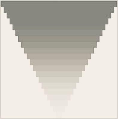 プログラム初心者です。 processingの質問なのですが、画像のような逆ピラミッド型(?)の図形を描画したく、簡易的にプログラムを書いてみました。しかし、実行しても何も描画されず、エラー文も出ないので、どこがどう間違えているのかが分かりません。 プログラム文も載せますので、回答よろしくお願いします。 ーーープログラム文ーーー void setup() { size(400,400); background(255); int x = 0; int y = 0; int d = 20; int d2 = 40; int w = 400; int h = 20; int i = 20; while(i<20){ rect(x,y,w,h); x=x+d; y=y+d; w=w-d2; i=i-1; } }