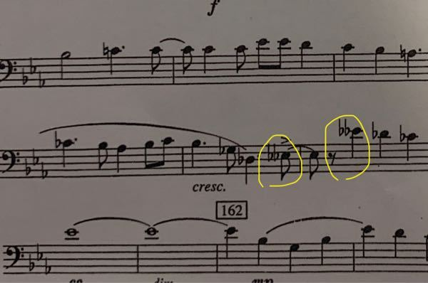 この場合のダブルフラットはなんの音になりますか? ユーフォの楽譜です。
