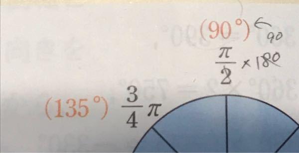 ラジアンについて質問です。 135°が4分の3になるのは、なぜですか?求め方というか…。