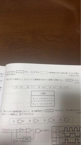 工事担任者総合種 平成23年第2回の試験問題で問い合わせです。 写真を添付しているのですが論理和を求め10進数に変換すると私の回答では10011011となり⑤の155になると思うのですが、回答を調べると④の87となっています。何度か確認しましたが回答に導けずにいる為どなたかご教示頂けたら助かります。