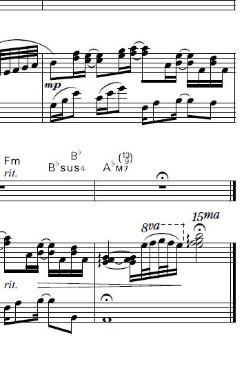 誰よりも好きなのに/古内東子 ピアノ弾き語り譜の最終小節にある15maとはどんな意味なんでしょう?よろしくおねがいします。 https://www.youtube.com/watch?v=ewdCnfrjKF4