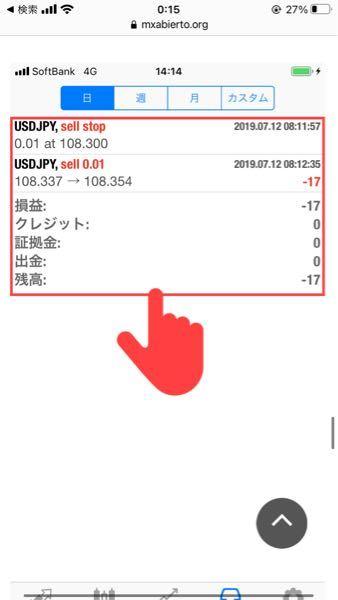 質問お願いします。 これですが幾らで買って幾らで売った意味ですか? −17の意味もわかりません。 108.337で買って108.354で売ったら普通は+になりませんか? わかる方お願いします。