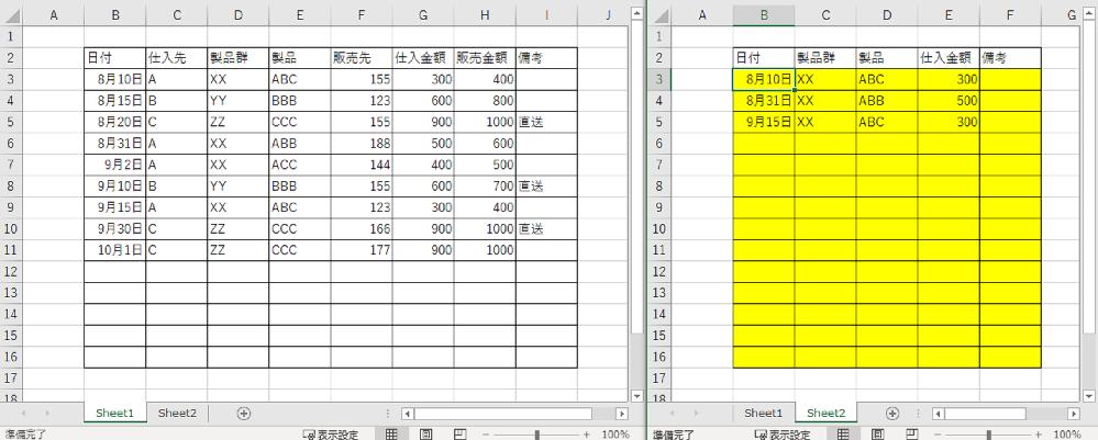 エクセルの数式についてシート1に入力された中から特定の製品群と製品をシート2(黄色い個所)に自動入力できる数式を模索しています。 Sheet2黄色箇所にはどのような数式を入力するといいでしょうか。 製品群XXの中のABCとABBのみを自動入力させたいです。 シート1と2は同じブック内で表示したいです。 どなたか詳しい方いらっしゃいましたら教えてください。