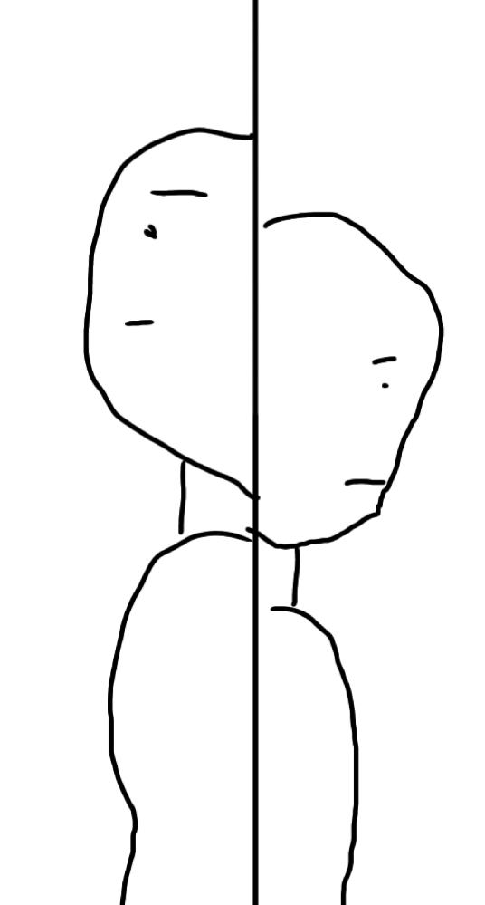 写真のような構図のイラストを探しています!私の絵がものすごく下手でわかりにくかったらすいません、、