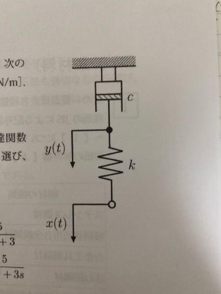 機械設計技術者試験3級の過去問の質問をさせてください。 写真のようにダッシュポットとバネを用いたシステムについて、ばね定数k=5(N/m),減衰係数c=3(N•s/m)とする。 変位x(t)を入力 変位y(t)を出力とした時の伝達関数G(s)の解き方を教えてください。 ちなみにこの系で遅れ時間td,立ち上がり時間tr,整定時間tsを解く公式とかはありませんでしょうか?