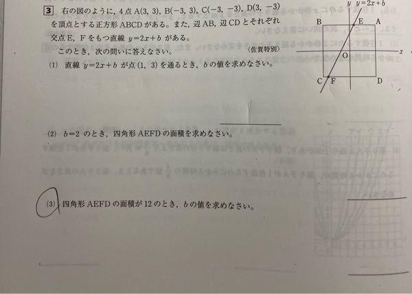 関数で、切片が分からないとき、切片を文字で置いて方程式をつくり切片を求めることは可能ですか。 例えば、下の問題の(3)です。