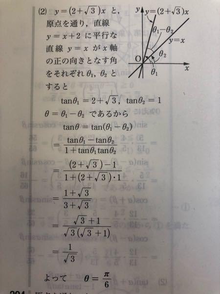 【急募】数学IIについての質問です。 最後の2行についてなんですが、1/√3になったのに、なぜ θ=π/6に変わるんですか?? これはどういった計算をしてこうなったのか教えて欲しいです。