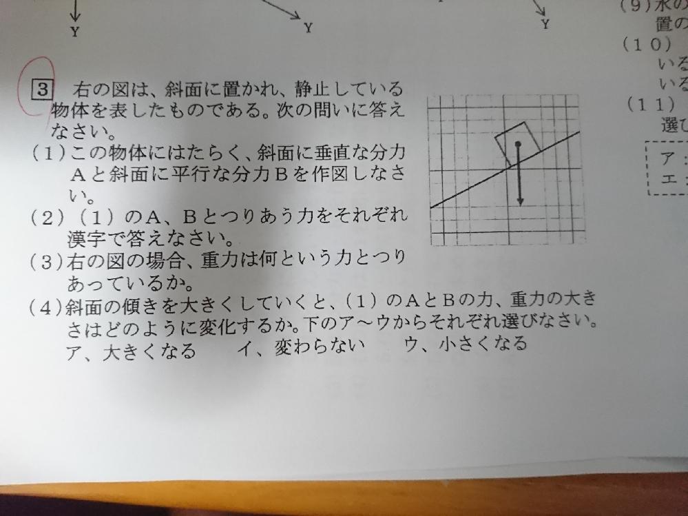 中学理科の問題です 図は斜面上に物体を置いた図です 矢印は重力です ⑶の問題の答えは何でしょうか? 理科が得意な方、教えてくれますか・