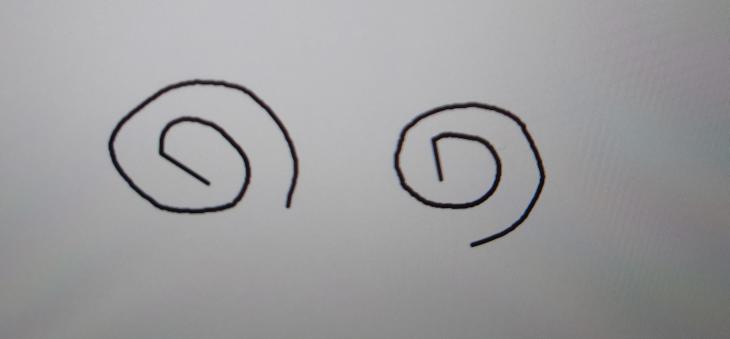 Gimpで絵を描こうとすると描き始めが直線になってしまいます。 わかりやすく渦巻き(内側から外側へ)を描いてみたのですが、描き始め地点からある程度動かさないと線が描けず、いきなり線が引かれるので、描き始めが直線になってしまいます。 使っているのはsurface pro6です。 詳しい方いらっしゃいましたら、教えて下さい。