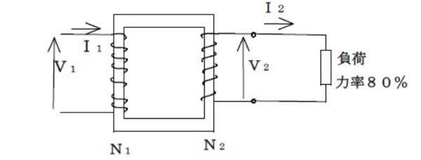 【至急回答お願いします!!】 この問題解ける方居ましたら、途中式と解答お願いします 変圧器の容量30kVA、1次電圧V1=6600V、 2次電圧V2=220Vのとき、 1次電流I1、2次電流I...