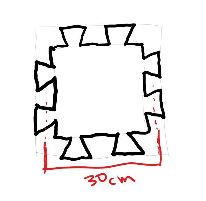 100均などに売っている、パズルのように組み合わせるクッションマットのサイズですが、記載サイズは、隣とジョイントする半分のところから、反対側のジョイントする半分のさいずなのでしょうか?