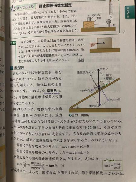 物理基礎で質問です! 図23の重力mgの分力にある角度はなぜθ₀だと分かるのでしょうか… 物理がとても苦手なので、分かりやすく教えていただけると有難いですm(❁_ _)m