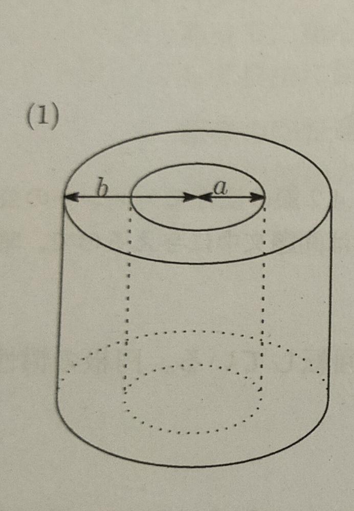 剛体の運動エネルギーと慣性モーメントについてです。 こちらの問題が分からないのでどなたかご教授お願いしたいです。 図7(1)のように、一様な密度で質量Mの円筒がある。内側の(物質のない部分)の半径がa,外側の半径がb、高さがhである(a <b)。この円筒の中心軸をとおる回転軸のまわりの慣性モーメントを答えよ。 宜しくお願い致します。