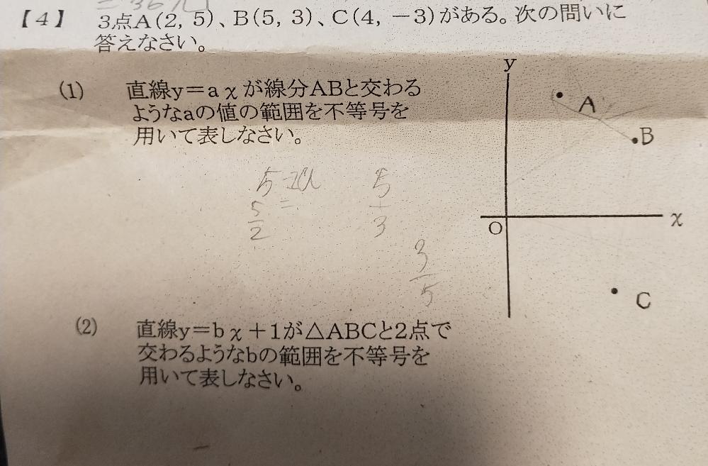 4の(2)の解き方がわかりません。 答えは-1<b<2だそうです。 数学が苦手なので、分かりやすく教えて下さい。