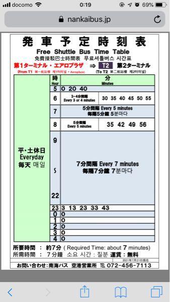 関西空港の第1ターミナルから第2ターミナルへの連絡バスは5時40分以降6時30分まで来ないってことでしょうか?