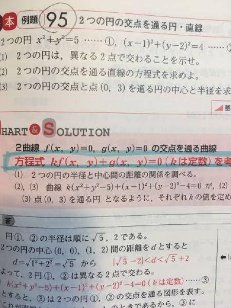 数学Ⅱ2つの円で質問です。 ⑴の問題ですが別解として ①と②の式を連立方程式として 解いてxだけの式をつくり 5x2乗-6x−11=0 の判別式D/4=9+55>0 から異なる2点で交わる としても可ですよね。(・・?) よろしくお願いします。