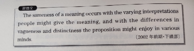 the differences in vagueness and distinctness the proposition might enjoy in various mindsの部分ってどういう意味ですか?構造は取れるのですが文の意味がよく分かりません。enjoyは〜を享受する、です。