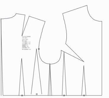 型紙の原型ですが、画像のは前身頃、後ろ身頃でしょうか?真ん中下は何ですか? 身頃がV字になっている意味もわからないので出来るだけこの原型の見方を教えてください。