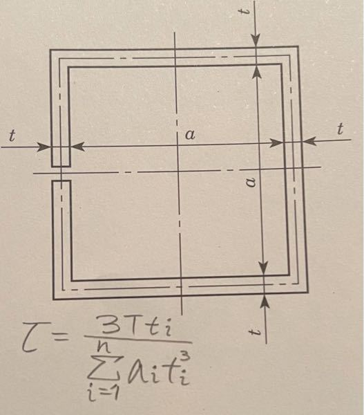 材料力学について質問です. 薄肉開断面にかかる応力は公式より τ=3Tt/Σat^3 となりますが写真の応力は公式よりτ=3Tt/4(a+t)t^3 となりますが分母がなぜ4(a+t)t^3なの...