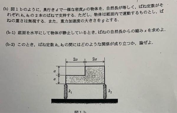 物理教えてくだい (b-1)は鉛直方向のつりあいより 6ρa²d=k1x+k2x x=6ρa²d/k1+k2 あってますか? (b-2)はわからないので教えてください