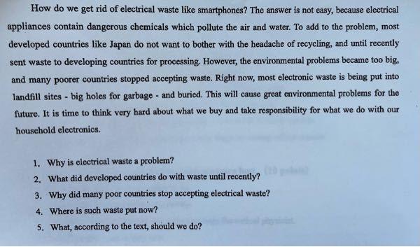 英語の問題なのですが、解答がなく正確な答えがわかりません。毎回この1〜5のような感じで聞かれるので、次の問題でも同じように答えられるような解答の方が有れば教えて頂きたいです。例えばhowで聞かれ...