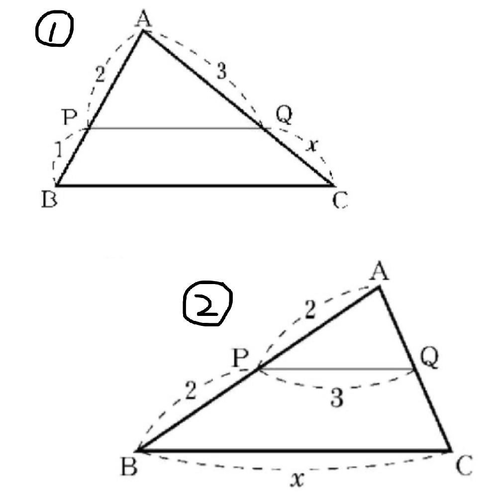 次の図でPQ//BCであるとき、xの値を教えてください。また答えは途中式もかきなさいという問題で ①は AP:PB=AQ:QC=2:1=3:x x=3/2 であっていますか? あと②が教科書をいくら読み直しても答えが分かりません。数学に詳しい方よろしくお願いします(><)