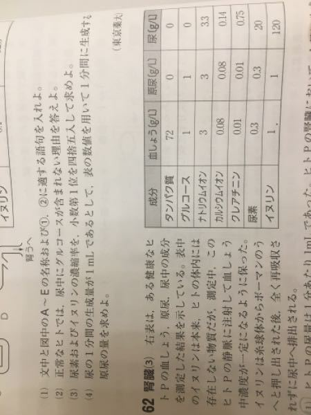 明日テストなのに分からない問題があります。下の計算の方法が全く分かりません。 62を読んでください。 [人の腎臓において1日に再吸収される尿素の量を求めよ。尿量は1分あたり1mlとする。]答えは23.04です。