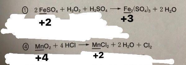 化学基礎の問題です 下線部の酸化数がなぜそうなるのか分かりません。 ①と④の下線部に書いたものが答えです。 Hが+1でOが-2ということは分かります!