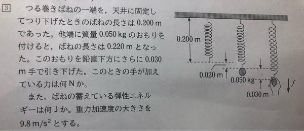 高校物理 一年 運動エネルギー この問題でなぜこうなるのか全くわかりません。答えは手が加えている力は0.735N、バネの蓄えている弾性エネルギーは0.031Jです。計算式だけでも大丈夫ですので、誰か教えていただけないでしょうか。