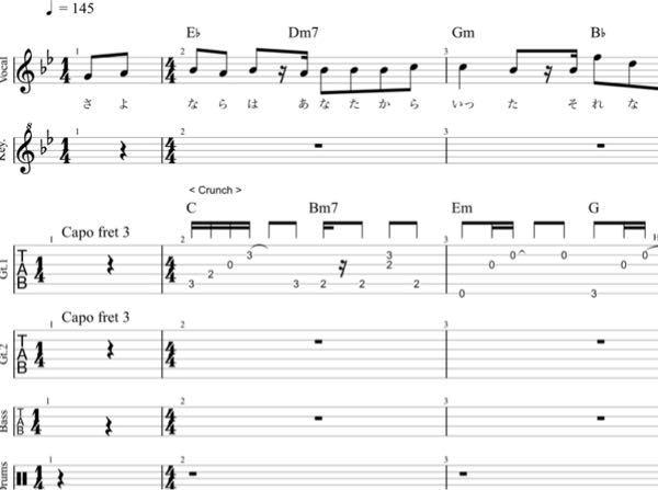作曲の為シャルルの楽曲分析しているのですがなぜこれだけでC Bm7 Em G を弾けていることになるのですか?ギターパートが鳴らしている音がコードのアルペジオということでしょうか? なおこの写真は有料楽譜ではなく、Ufret様のページから拝借しました。 https://www.ufret.jp/song.php?data=44960