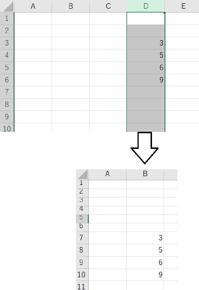 シート2のアクティブにした列の3行目から入力されているセルまでをシート1のB7から下に代入させたいんですが、どんなコードになりますか