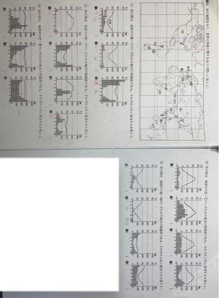 至急お願いします。 高校 地理 です。 この雨温図から読み取る問題が分かりません。 (1)のように、埋まっている問題以外の 図中の場所と、ケッペンの気候区分の記号を それぞれ教えていただけないで...