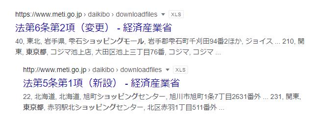 """都内の商業施設一覧のEXCELファイル(.csv .xls .xlsx)が欲しいです。 自分で """"都内 デパート 一覧 filetype:xls"""" などで検索しましたがありませんでした。 webページで以下のようなページが、一覧・便覧になっているファイルが欲しいのです。 https://www.navitime.co.jp/category/0204/13/ 一番近いのは経済産業省の、大規模商業施設届出書一覧、みたいなリストでした。(画像の件です。)しかし、施設名が法人名?というか、一般名称ではないのも多く、もう少し使いやすいものを探しています。 このようなリスト情報をご存知の方、URLを教えて頂けますでしょうか。宜しくお願いします。"""