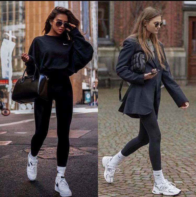 海外モデルがよくしているこのファッションなのですが黒いタイツはどのようなものでしょうか?ヨガウェアのレギンスのような購入したいのですが名前が分からず教えてください。