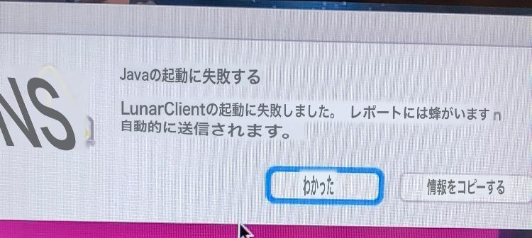 Minecraftのpvpでlular clientを使っていたのですが、起動できなくなりました。 和訳の写真を乗せておきます。 どうしたらいいかわかる方いたらお願いします。