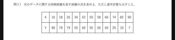 統計学のこの問題の回帰直線を表す直線の式(途中計算も示す)が分かる方はいますでしょうか。