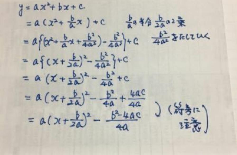 平方完成について分からないので教えてください なんで最後のCをプラスからマイナスに変えているんですか? 例えばy=2x²-4x+3を平方完成すると最後Cのところは-2+3=1になります。-2-3=-5にはしませんよね。なぜこの写真はCのところマイナスにしてるのか教えてください。