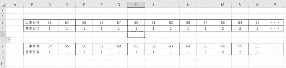 画像のような表を作ろうしています。 基準番号は上に書かれている工事番号が何番目の数なのかを判定するものです。 上記表であれば、C3の53は左から数えて1つ目の53なのでC4に1、M3の53は左から数えて2つ目の53なのでM4に2というような形です。 表の工事番号は毎月更新されるため、当月は上の表ですが、次月は下の表のように変わります。 工事番号を更新したときに基準番号が自動で切り替わるようにしたいです。 53の数の順番を数えていたC4で54の数の順番を数えるようにできるでしょうか? 53~64までの数をそれぞれ数えさせるにはどのような式をいれるといいでしょうか? よろしくお願いいたします。