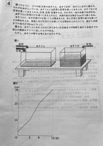 仮に、Q管だけを使って水を入れたとすると、水槽Aの水面の高さは毎分何cmずつ高くなるか。 解き方と答えを教えてください