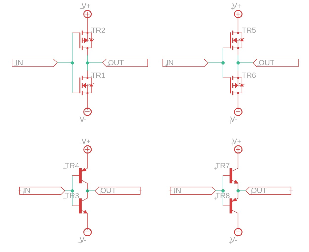 トランジスタのプッシュプル回路について質問です。 プッシュプル回路を両電源で動かす際、ハイサイドにnチャンネル、ローサイドにpチャンネル、という構成をよく見ます。 しかし、CMOS回路はハイサイドがpチャンネル、ローサイドがnチャンネルとなっています。またこの構成のことをプッシュプル回路と説明している本もあります。 これはどちらが正しいのでしょうか。 また、ハイサイドにnチャンネルとpチャンネルのどちらを入れると、特性はどのように違いがあるのでしょうか。 これは、pnp型とnpn型についても同じです。 お願いします。