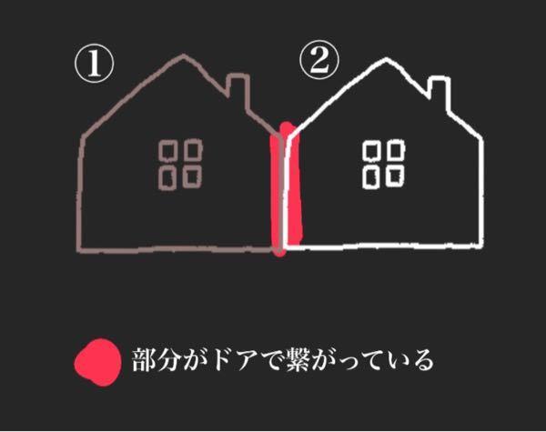引越しの荷物について。 引越し予定なのですが、私の家は2つの1軒家がドアで繋がっています(画像参照)。 業者の方に、①の家の2階と、②の家の1階にそれぞれ荷物を運んでもらうことは可能でしょうか?
