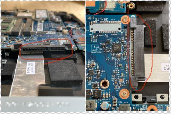 【ノートpc】ゲーミングノートpcのメモリ増設をしようと底の蓋を開けていたら何かよくわからない端子がありました。 写真の赤丸で囲っている部分ですが、端子自体はマザボに直結してハンダ付けされています。 明らかにRAMの端子は見てわかるので違いましたがでは一体なんの端子でしょうか。もしかしたら端子に合うものを買って取り付けたり出来るのでしょうか。